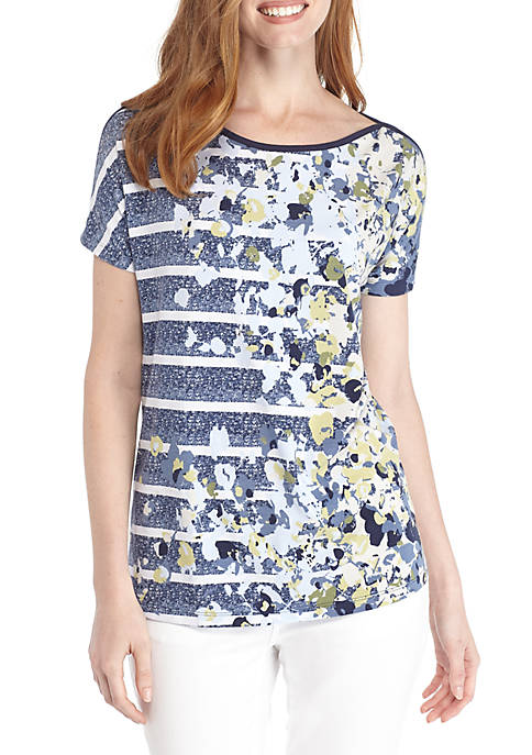 Kim Rogers® Short Sleeve Tape Boat Neck Print