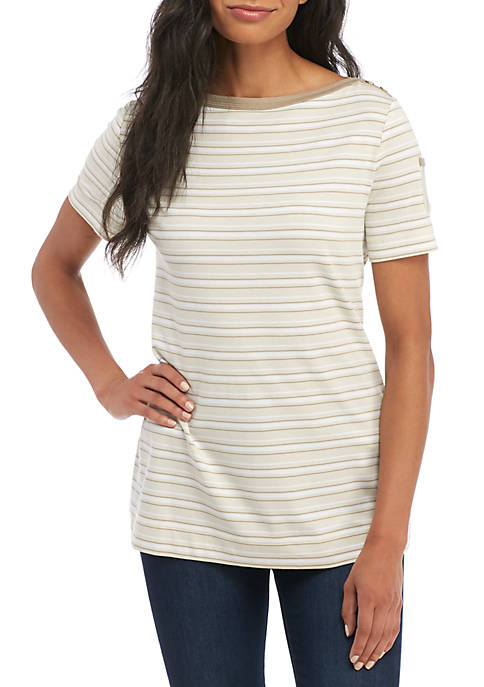 Kim Rogers® Boat Neck Pocket Sleeve Top