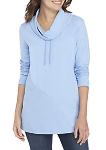 Long Sleeve Cowl Neck Solid Tunic