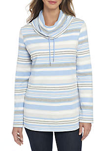 Long Sleeve Cowl Neck Stripe Tunic