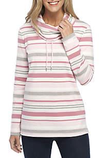 Long Sleeve Cowl Neck Stripe Tunic