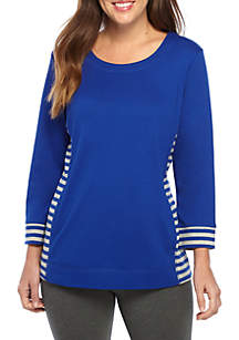 Three-Quarter Sleeve Crew Neck Stripe Top