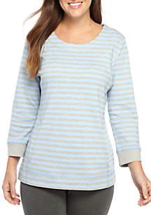 Three-Quarter Sleeve Stripe Print Top
