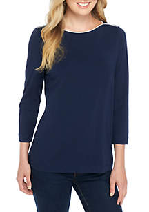 Three-Quarter Sleeve Solid Top