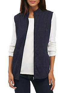 Zip-Up Dot Vest