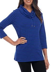 3/4 Sleeve Cowl Neck Tunic