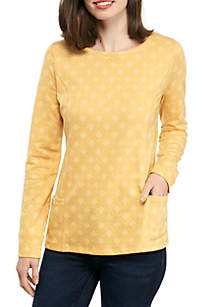 Long Sleeve Dot Print Pullover