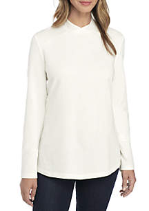 Long Sleeve Crossover Mock Neck Pullover