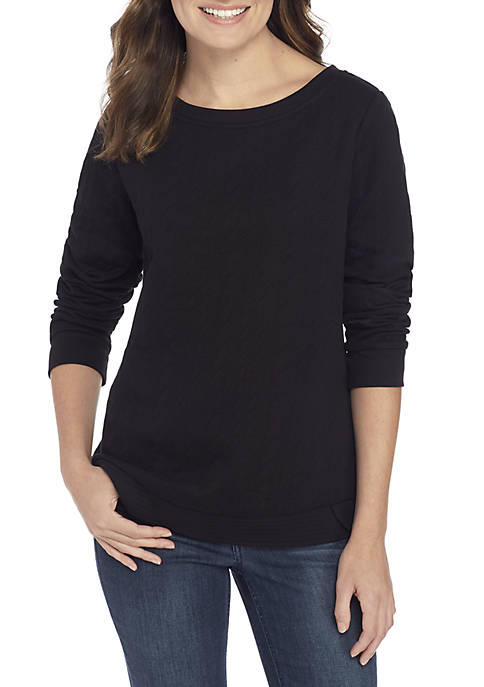 Kim Rogers® Long Sleeve Boat Neck Pullover Sweater