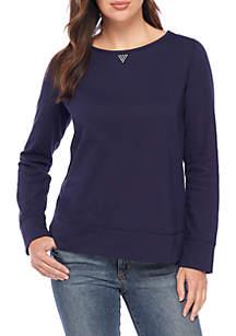 Long Sleeve Crew Neck Solid Sweatshirt