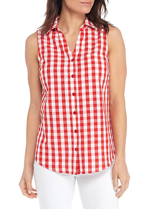 Sleeveless Button Front Gingham Top