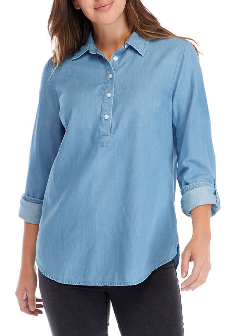 Womens Roll Tab Sleeve Chambray Popover Tunic
