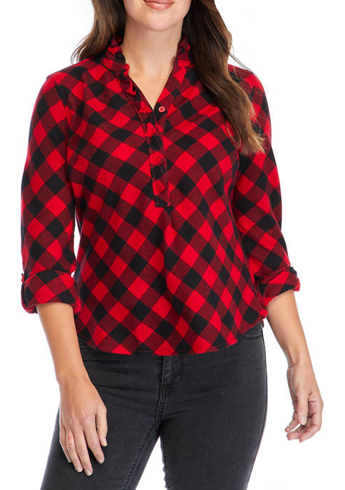Kim Rogers® Womens Ruffle Neck Plaid Shirt
