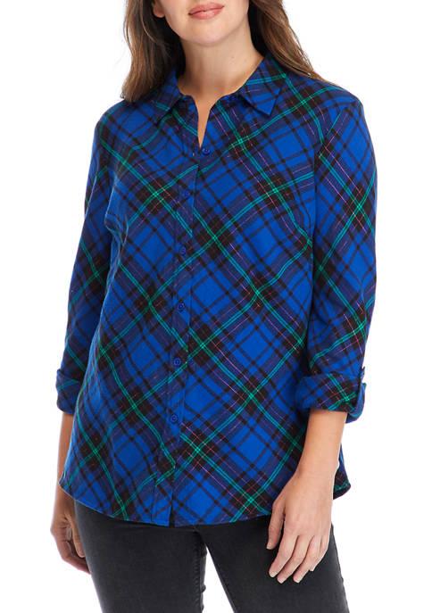 Kim Rogers® Womens Roll Tab Sleeve Flannel Shirt