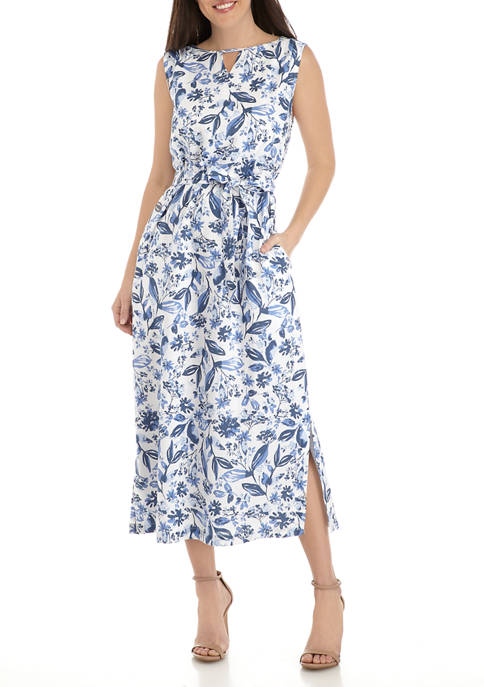 Kim Rogers® Womens Sleeveless Linen Printed Maxi Dress