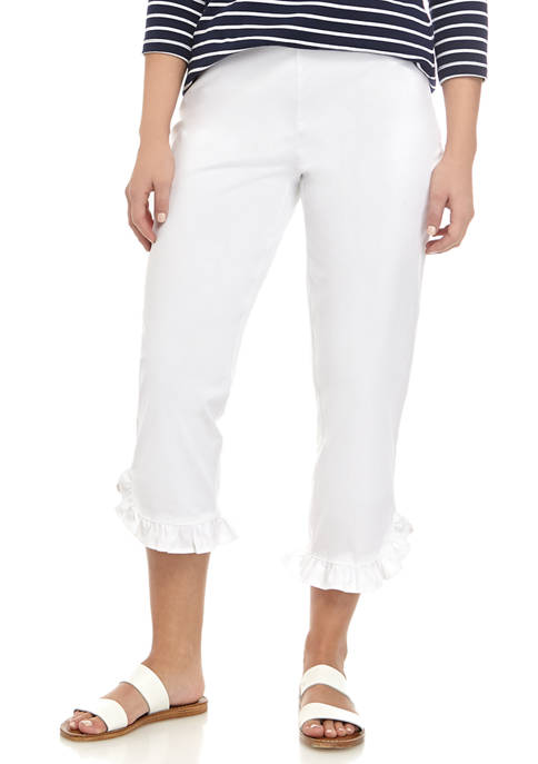 Kim Rogers® Womens Ruffle Cropped Pants