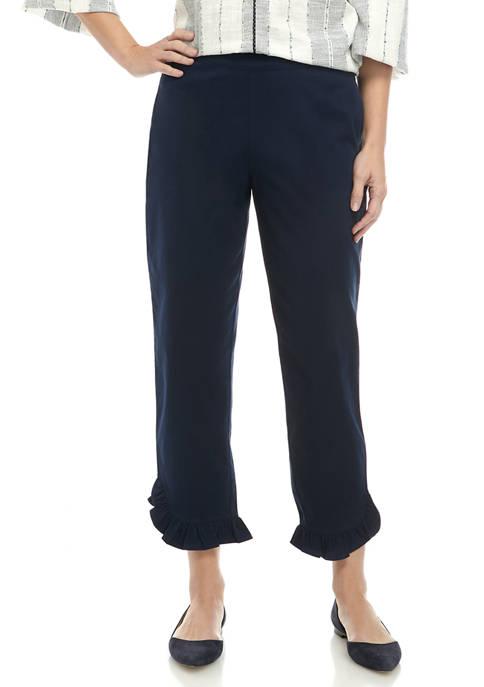Womens Ruffle Cropped Pants