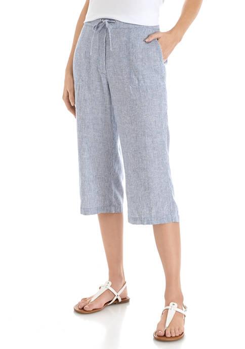 Womens Tie Linen Stripe Capri Pants