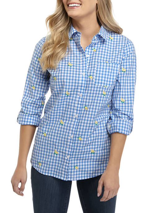 Kim Rogers® Womens Roll Tab Embroidered Gingham Shirt