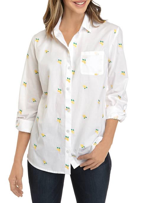 Kim Rogers® Womens Roll Tab Embroidered Lemon Shirt