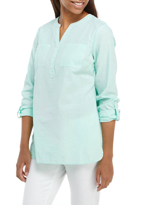 Kim Rogers® Womens Roll Tab Popover Top
