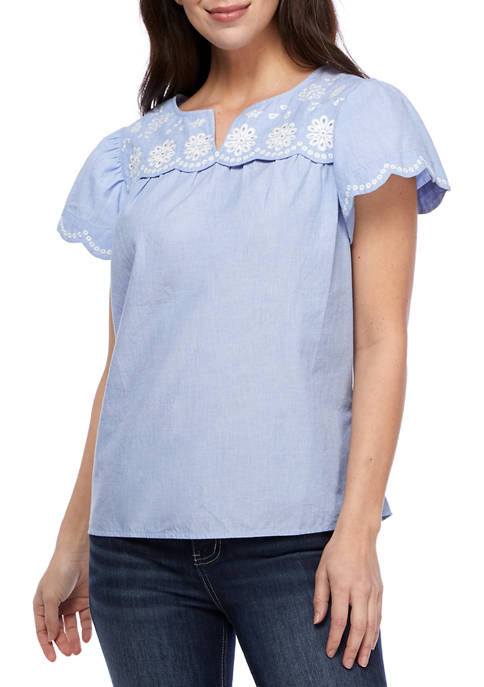 Kim Rogers® Womens Embroidered Scallop Yoke Top