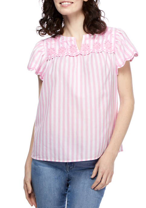 Womens Embroidered Scallop Yoke Striped Top