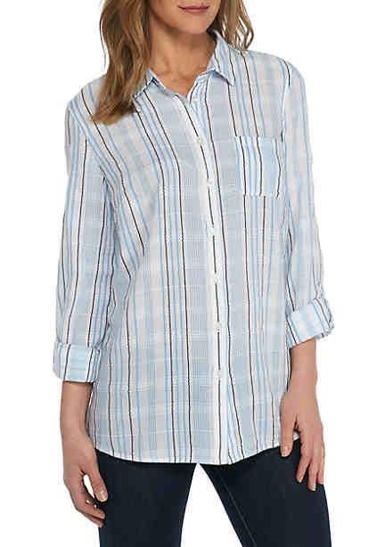 Kim Rogers® Cambric Textured Stripe Top ...