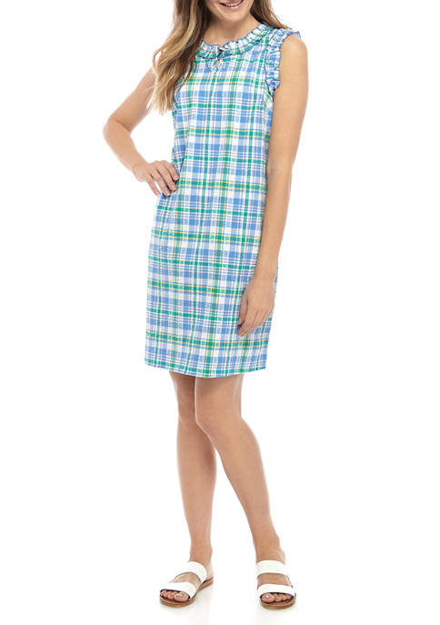 Kim Rogers® Womens Sleeveless Ruffle Yarn Dye Dress