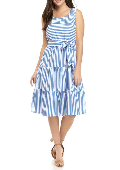 Womens Sleeveless Yarn Dye Tier Dress