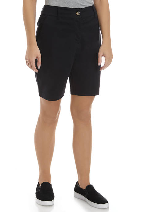 Womens Solid Twill Shorts
