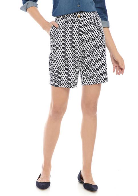 Womens 9 Inch Print Twill Shorts