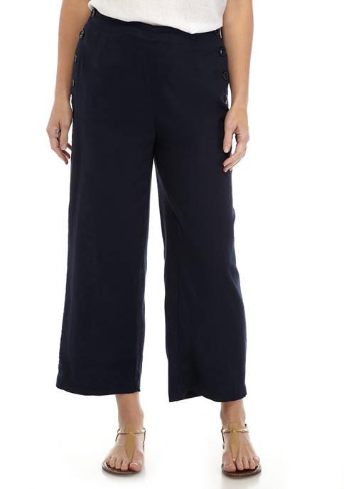 Womens Side Button Crop Pants