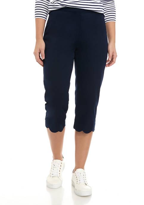 Womens Scallop Hem Capri Pants