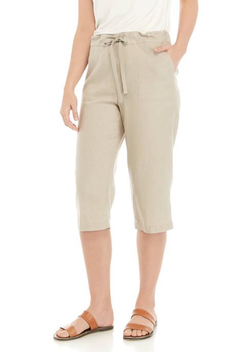 Kim Rogers® Womens Tie Linen Capri Pants