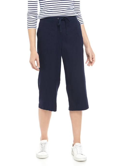 Womens Tie Linen Capri Pants