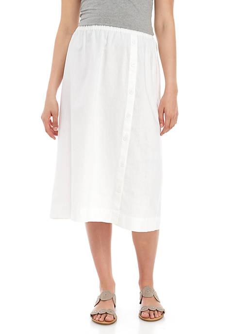 Kim Rogers® Linen Button Front Midi Skirt
