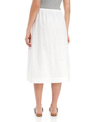 091864163946 Kim Rogers® Linen Button Front Midi Skirt | belk