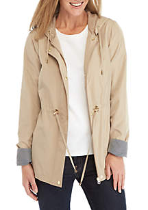 Solid Long Sleeve Anorak Jacket