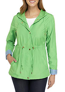 Solid Long Sleeve Anorak Jacket
