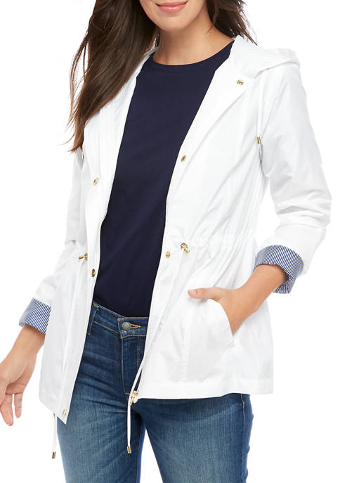 Womens Long Sleeve Anorak Solid Jacket