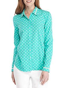 Button Down Trim Print Shirt