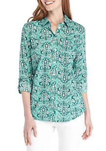 Ruffle Button-Down Yard Dyed Shirt