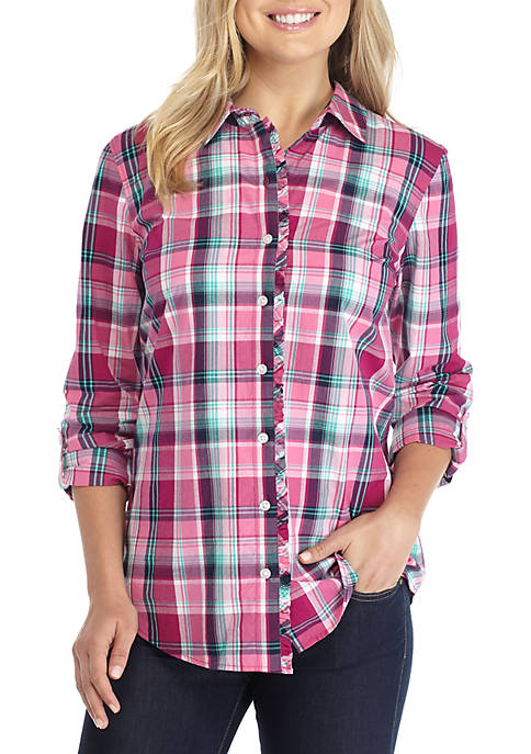 Kim Rogers® Ruffle Button-Down Yard Dyed Shirt