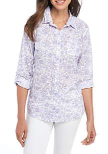 Roll Sleeve Cambric Print Shirt