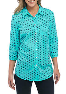 Roll Sleeve Cambric Print Top