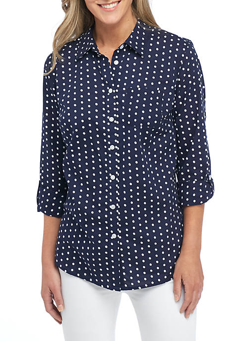 Kim Rogers® Roll Sleeve Cambric Print Top