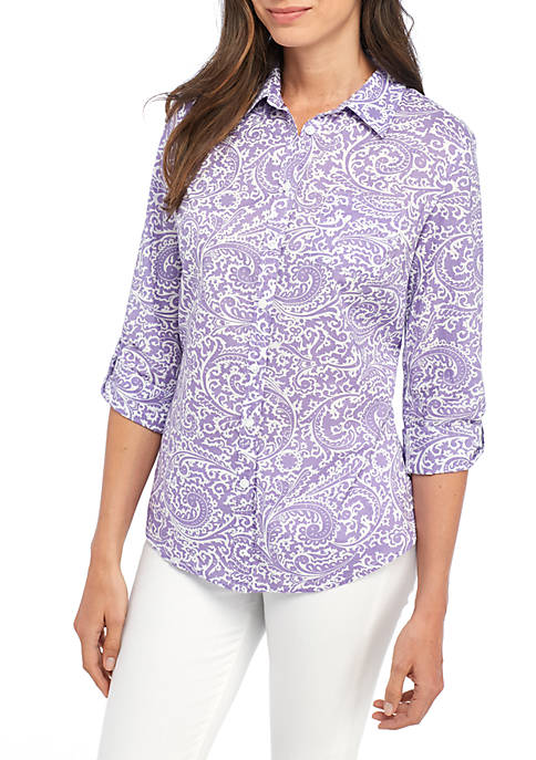 Kim Rogers® Roll Sleeve Cambric Print Shirt