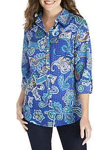 Long Sleeve Printed Woven Shirt