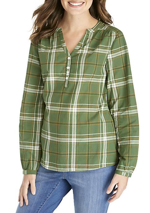 Kim Rogers® Long Sleeve Printed Henley Top
